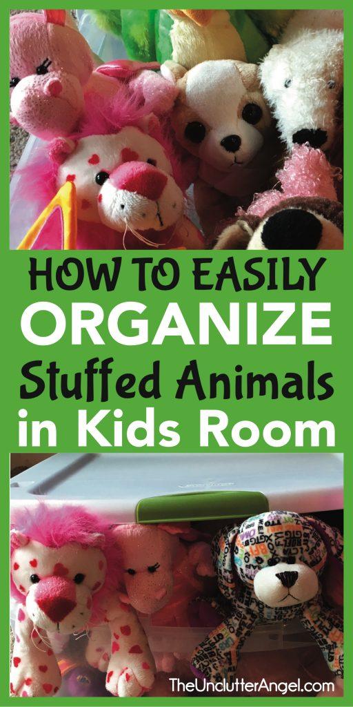 organize stuffed animals in kids room