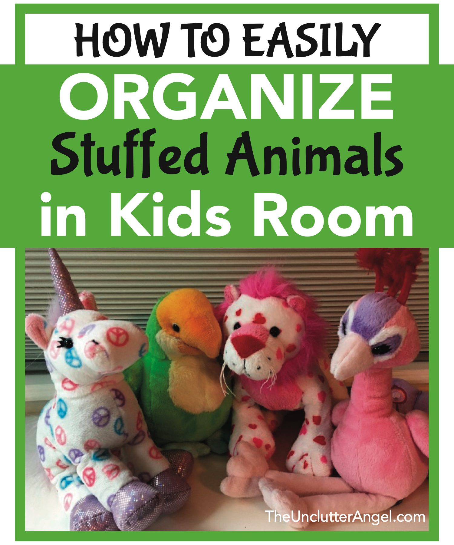 4 No Fuss Ways to Organize Stuffed Animals in the Kids Room. Do you feel overrun with stuffed animals in your home? Is your kiddo's room bursting with plushes? Without burning them in a big bonfire, it's possible to organize stuffed animals in kids room! Stuffed animals are so cute, can hold sweet memories, and can pull at our heart strings when they resemble something that our kids love. BUT.