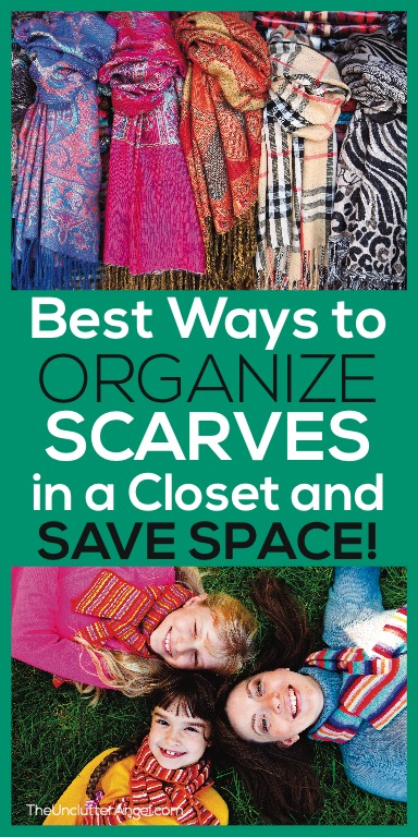 Organize scarves in a closet